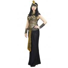 Costume de la reine d'Égypte Cléopâtre noir et or pour adulte