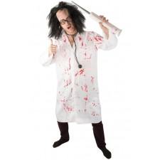 Déguisement Halloween composé d'une blouse de médecin ensanglantée