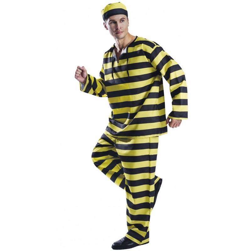 Costume de prisonnier noir et jaune pour adulte