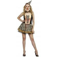 Costume arlequine sanglante noire et dorée femme pour Halloween