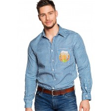 Costume pour la fête de la bière composé d'une chemise bleue et blanche Oktoberfest
