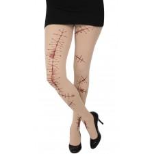 Collants Halloween effrayants avec impression cicatrices réalistes