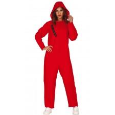 Costume de braqueuse de banque rouge femme