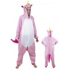 Costume composé d'une combinaison intégrale de licorne rose pour adulte