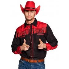 Costume de cowboy composé d'une chemise noire et rouge adulte