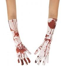 Paire de deux gants longs blancs avec des tâches de sang pour Halloween