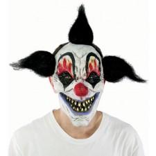 Masque maléfique de clown tueur avec cheveux noirs