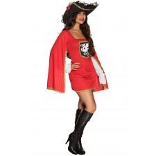 Costume de mousquetaire rouge pour femme