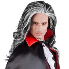 Perruque de vampire aux cheveux noirs et blancs style Dracula pour homme