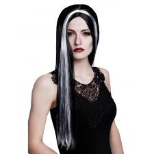 Perruque de sorcière aux cheveux longs noirs et blancs pour femme