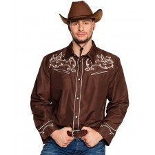 Déguisement adulte composé d'une chemise de cowboy marron pas cher