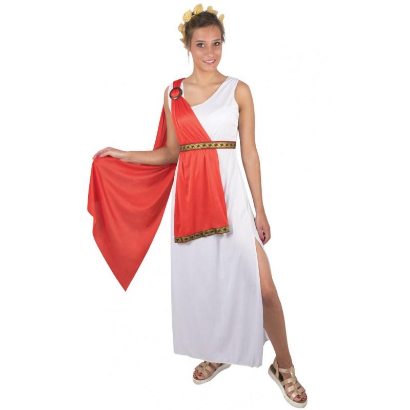 Déguisement pas cher de romaine blanc et rouge pour femme