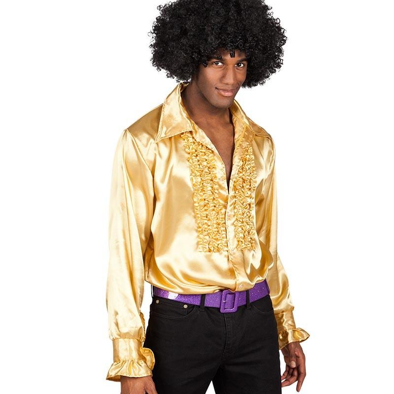Costume composé d'une chemise disco dorée pour homme