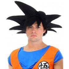 Perruque manga Son Goku noire pour adulte sous licence officielle
