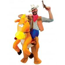 Costume adulte gonflable de cowboy sur son cheval porte-moi