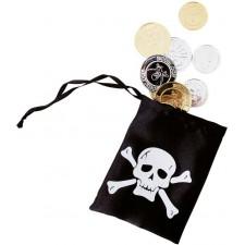 Bourse de pirate avec pièces d'or et d'argent pour accessoiriser un déguisement