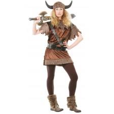 Costume de viking femme avec fourrure