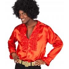 Chemise disco rouge pour homme déguisement sur les années 1970