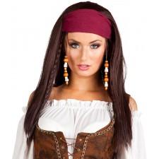 Perruque de pirate corsaire pour femme