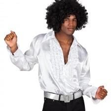 Déguisement composé d'une chemise disco blanche pour homme
