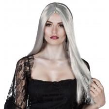Perruque d'Halloween femme aux cheveux longs gris
