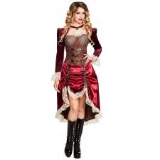 Déguisement femme robe steampunk rouge bordeaux